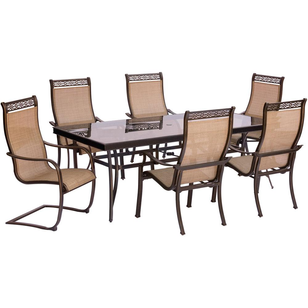 Great Hanover Monaco 7 Piece Aluminum Outdoor Dining Set With Rectangular Glass  Top Table And