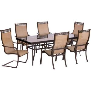 Hanover Monaco 7-Piece Aluminum Outdoor Dining Set with Rectangular Glass-Top Table and 2... by Hanover