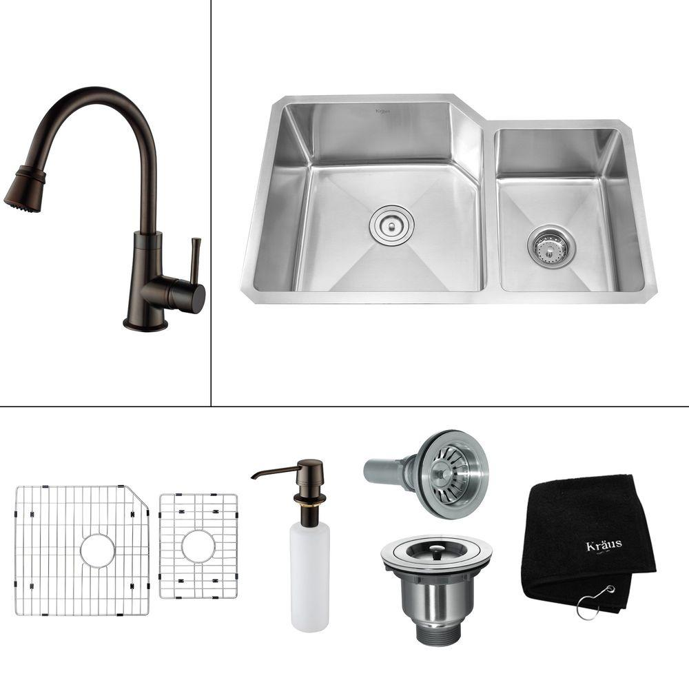 KRAUS All-in-One Undermount Stainless Steel 32x20x14 in. 0-Hole Double Bowl Kitchen Sink with Oil Rubbed Bronze Accessories