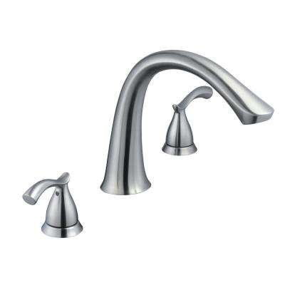 Edgewood 2-Handle Deck-Mount Roman Tub Faucet in Brushed Nickel