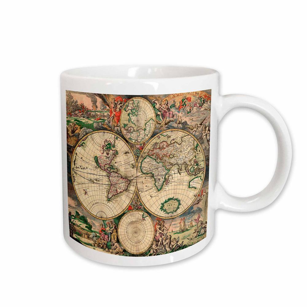 3drose Tnmgraphics Vintage Maps World Map 1689 11 Oz White Ceramic