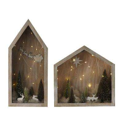 14 in. to 20 in. White Wooden Snowfall Dioramas with Lights (Set of 2)