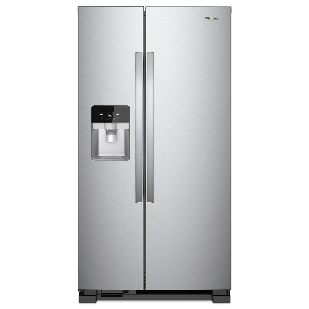 whirlpool side by side refrigerator. whirlpool 33 in. w 21.22 cu. ft. side by refrigerator in fingerprint -