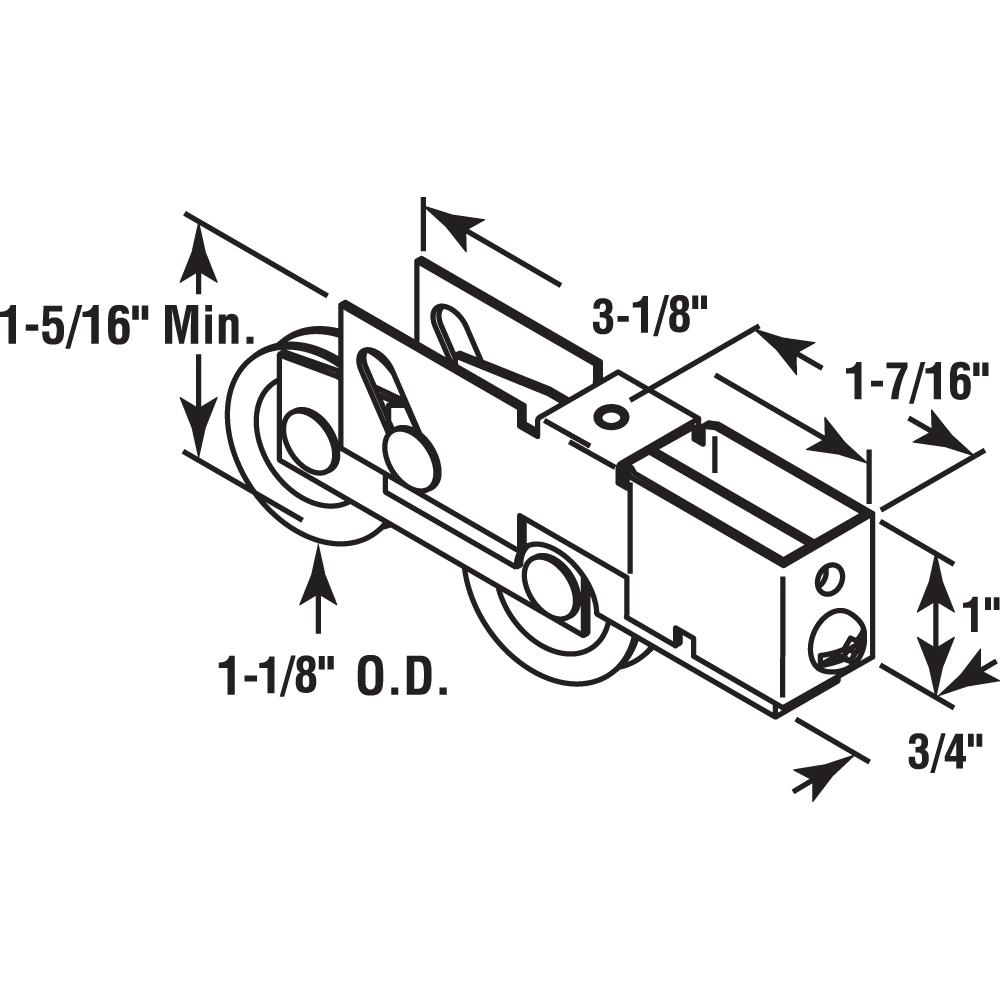 Prime-Line Products D 1808 Sliding Door Tandem Roller Assembly with 1-1//4-Inch Steel Ball Bearing