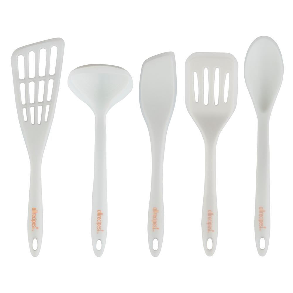 Utensil Silicone Overmolded Set 5 Piece Heat Resistant Kitchen Cooking  Utensil