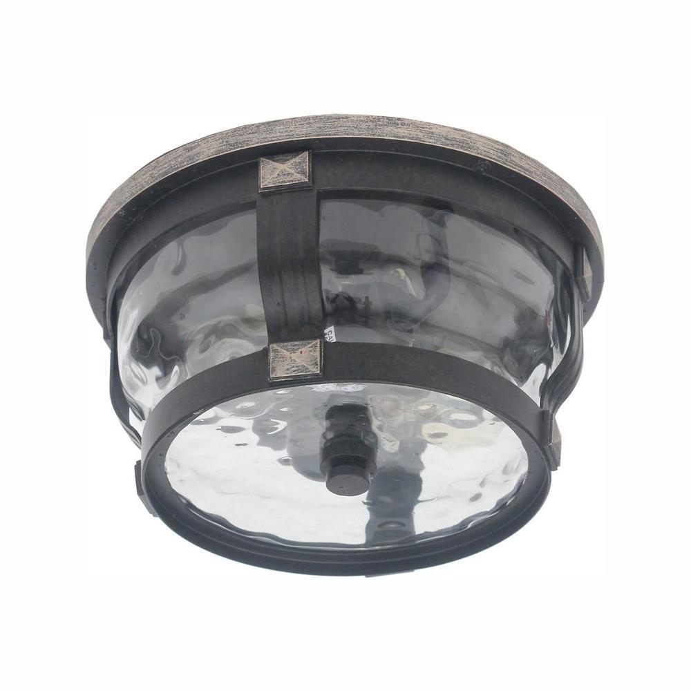 Home Decorators Collection McCarthy 2-Light Bronze Outdoor Flushmount