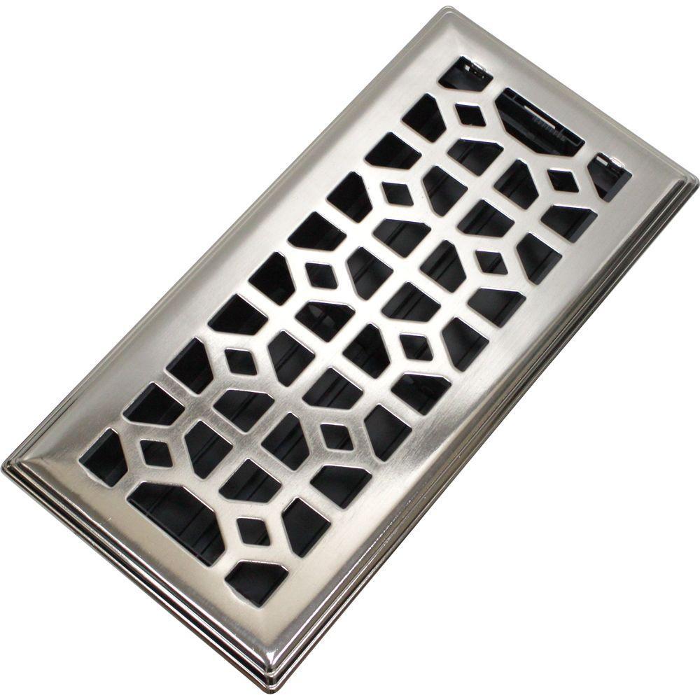 4 in. x 10 in. Abstract Steel Floor Register in Brushed Nickel