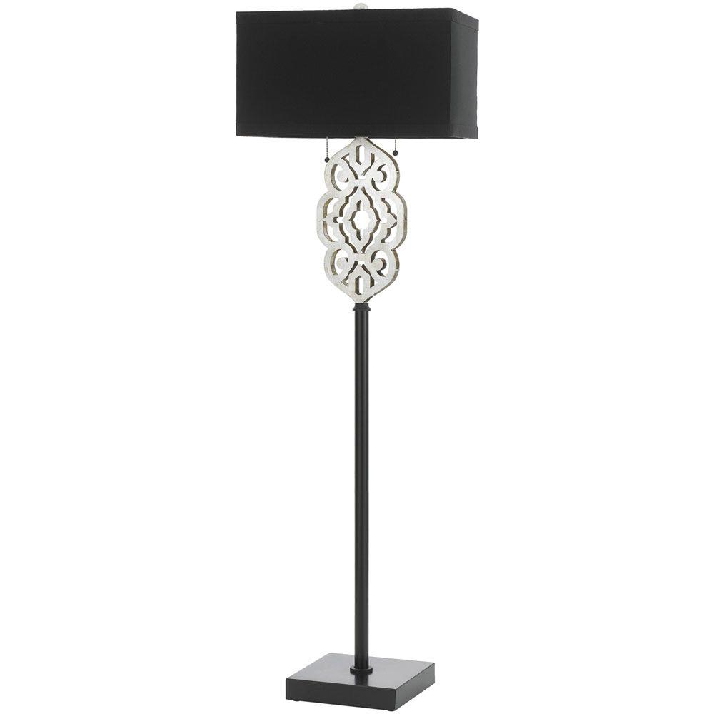 8423 60 in. Silver and Black Floor Lamp