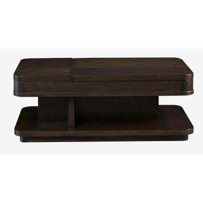 19 in. H x 48 in. W x 26 in. D Grove Park Chocolate and Mahogany Double-Lift Cocktail Table