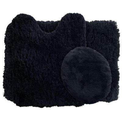 Black 19.5 in. x 24 in. Super Plush Non-Slip 3-Piece Bath Rug Set