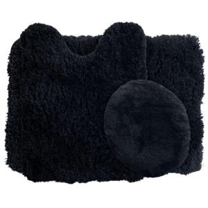 Lavish Home Black 19.5 inch x 24 inch Super Plush Non-Slip 3-Piece Bath Rug Set by Lavish Home