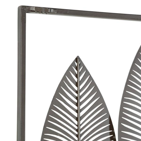 Litton Lane 59 In X 37 In Natural Black White And Bronze Metal Leaf Wall Decor 65650 The Home Depot