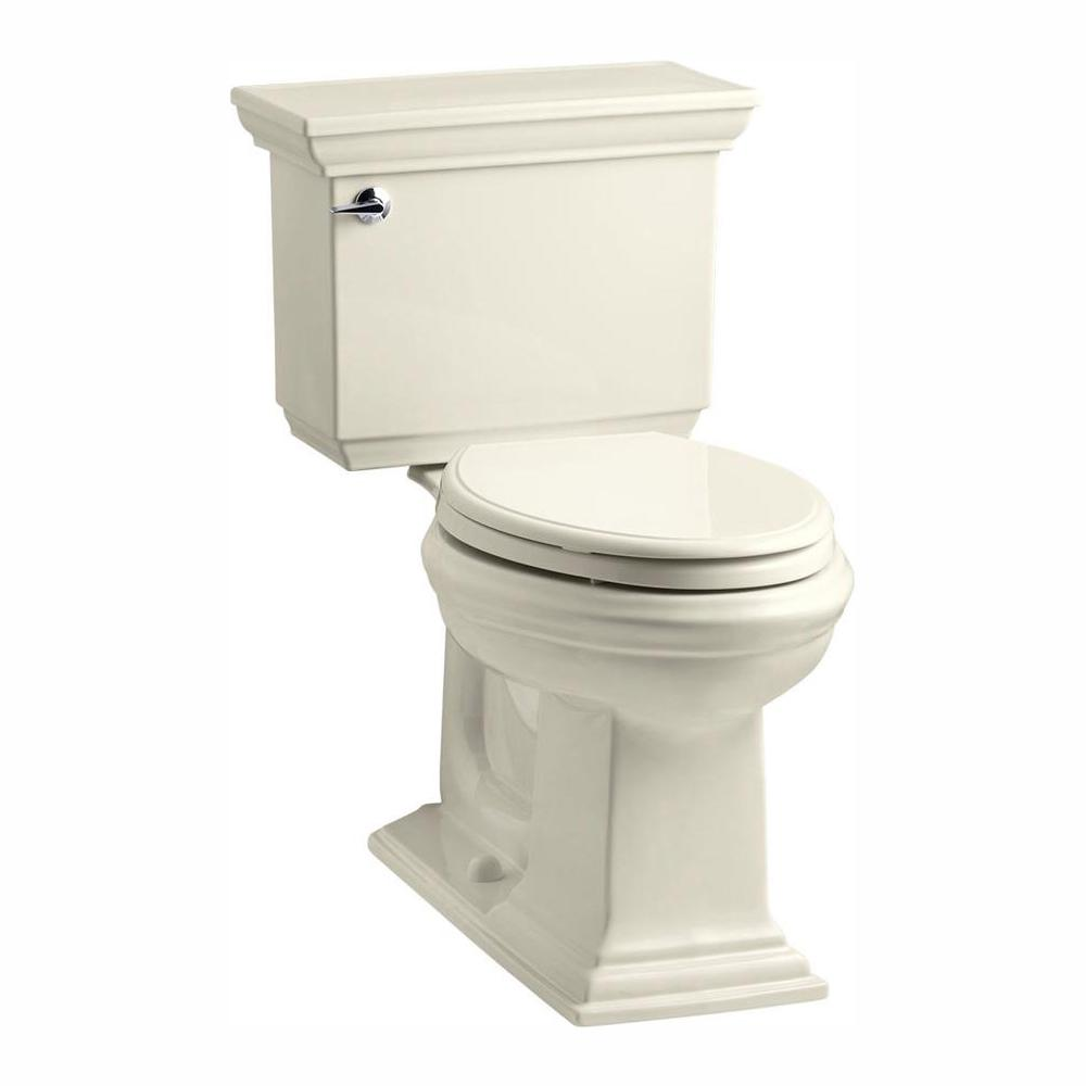 KOHLER Memoirs Stately 2-piece 1.28 GPF Single Flush Elongated Toilet with AquaPiston Flush Technology in Almond