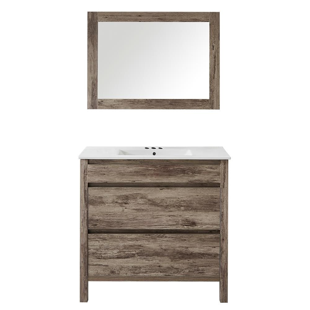 huge discount 70bd4 99e6b Mediterraneo Napoles 24 in. W x 18 in. D x 18 in. H Vanity in Gray PVC with  Vitreous China Top and Basin in White and Mirror