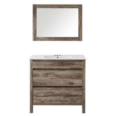 Napoles 24 in. W x 18 in. D x 18 in. H Vanity in Gray PVC with Vitreous China Top and Basin in White and Mirror