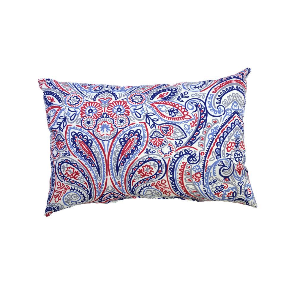 Denim Paisley Outdoor Lumbar Pillow