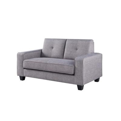 Megumi 59.8 in. Gray Polyester 3 Seater Loveseat with Square Arms