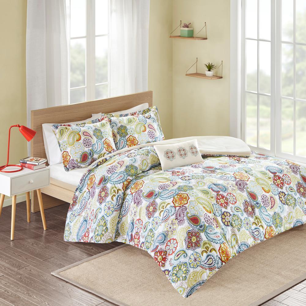 Mi Zone Asha 4-Piece Multi-Colored Full/Queen Print Comforter Set MZ10-059