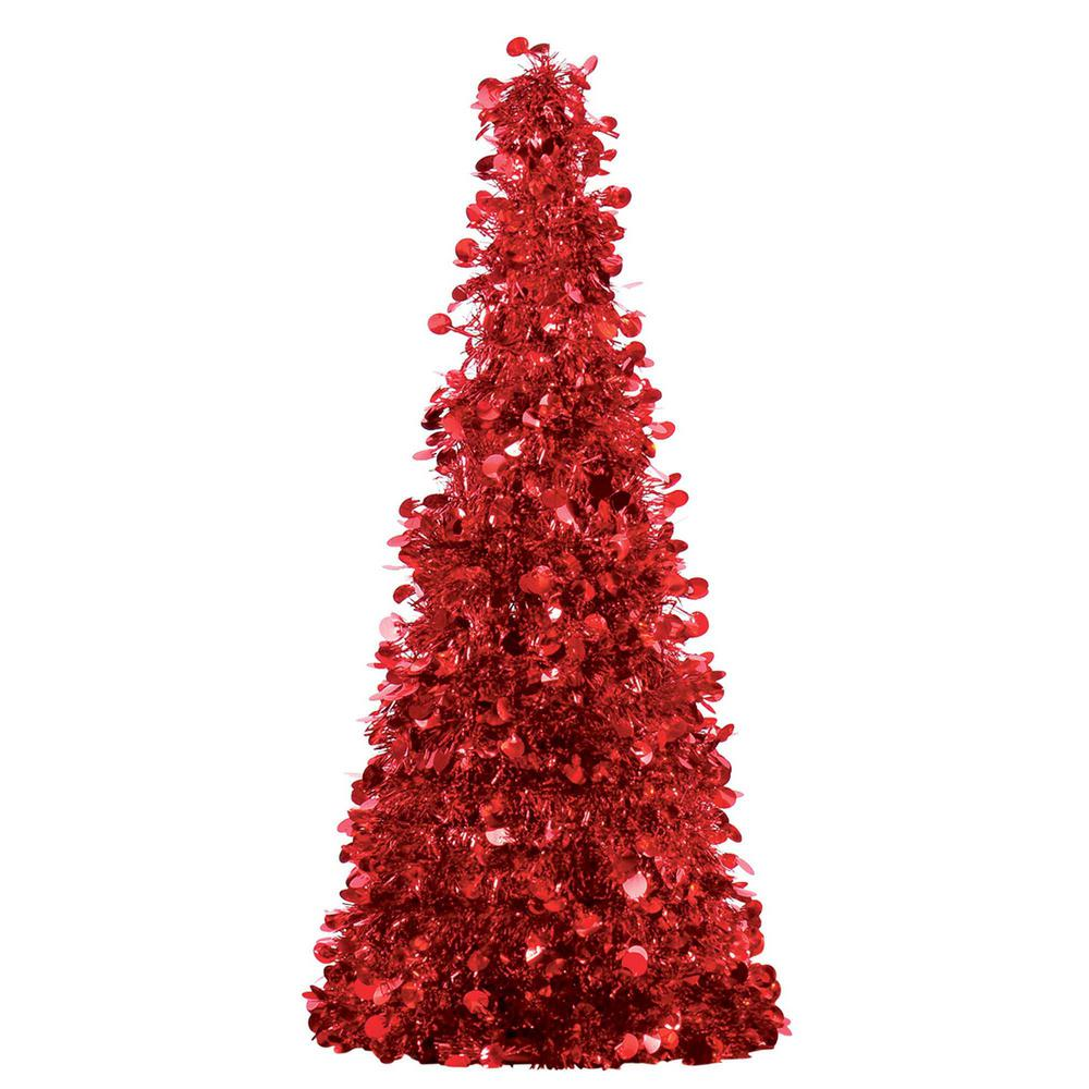 Amscan 18 In. Red Tinsel Tree Centerpiece (2-Pack)-240596