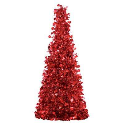 18 in. Red Tinsel Tree Centerpiece (2-Pack)