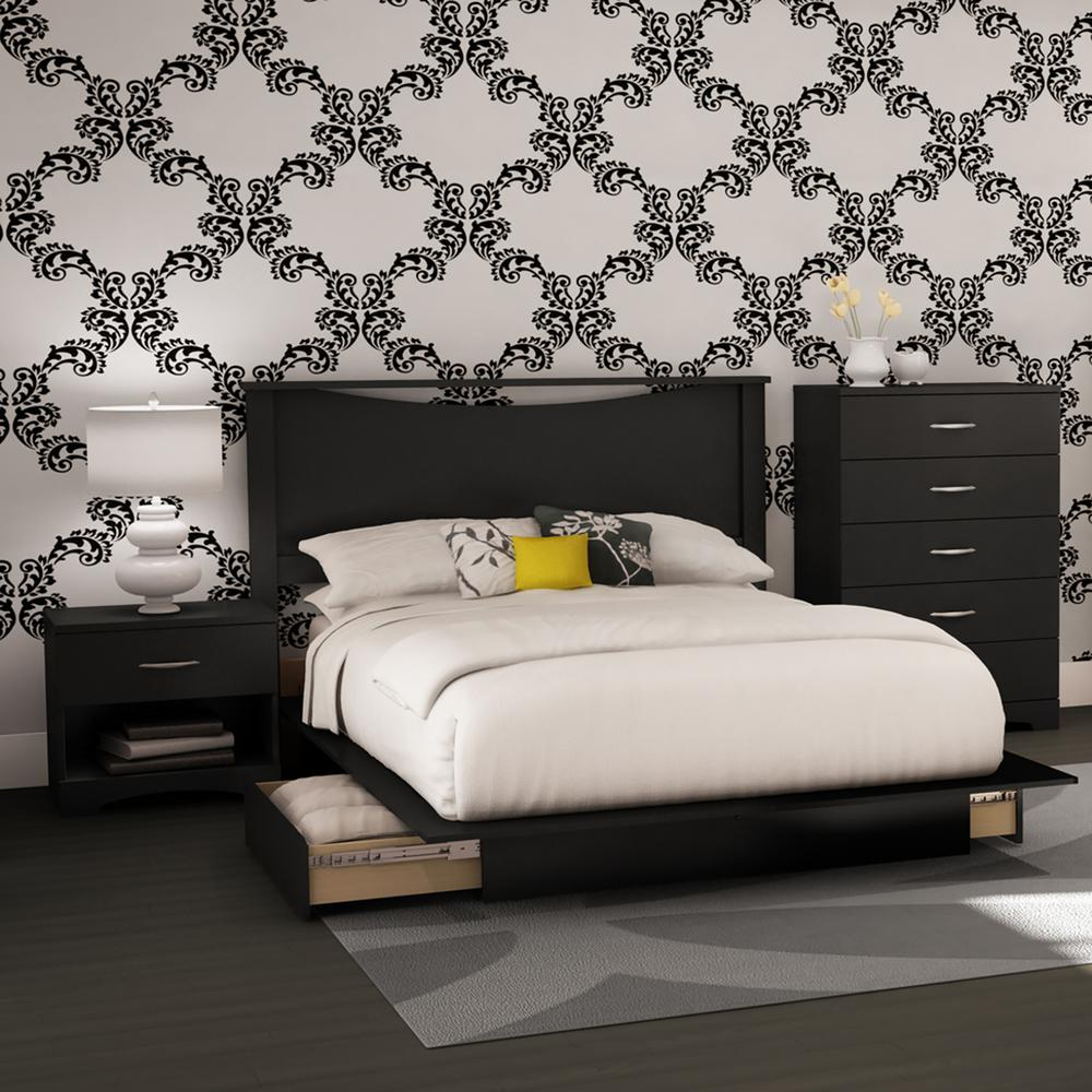 Lovely South Shore Step One 4 Piece Pure Black Full Bedroom Set