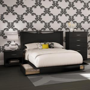 South Shore Step One 4-Piece Pure Black Full Bedroom Set by South Shore