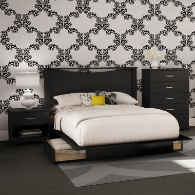 South Shore Step One 4-Piece Pure Black Full Bedroom (Set)