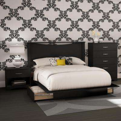Step One 4 Piece Pure Black Full Bedroom Set