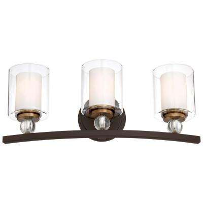 Studio 5 Collection 3-Light Painted Bronze with Natural Brushed Brass Bath Light