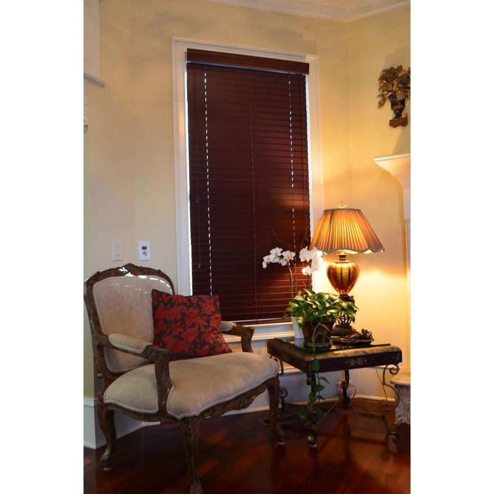 Blinds By Noon Mahogany 2 in. Faux Wood Blind - 52.5 in. W x 74 in. L (Actual Size 52 in. W 74 in. L )