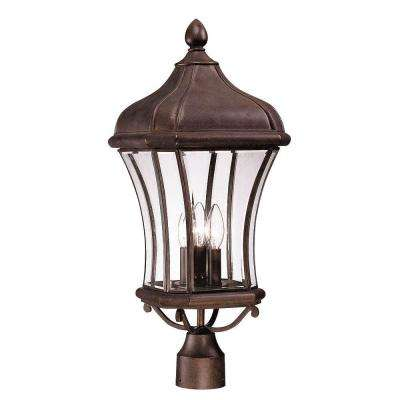 3-Light Outdoor Walnut Patina Post Lantern with Clear Beveled Glass