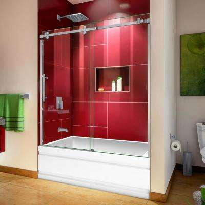 Enigma Sky 56 to 60 in. W x 62 in. H Frameless Sliding Tub Door in Brushed Stainless Steel