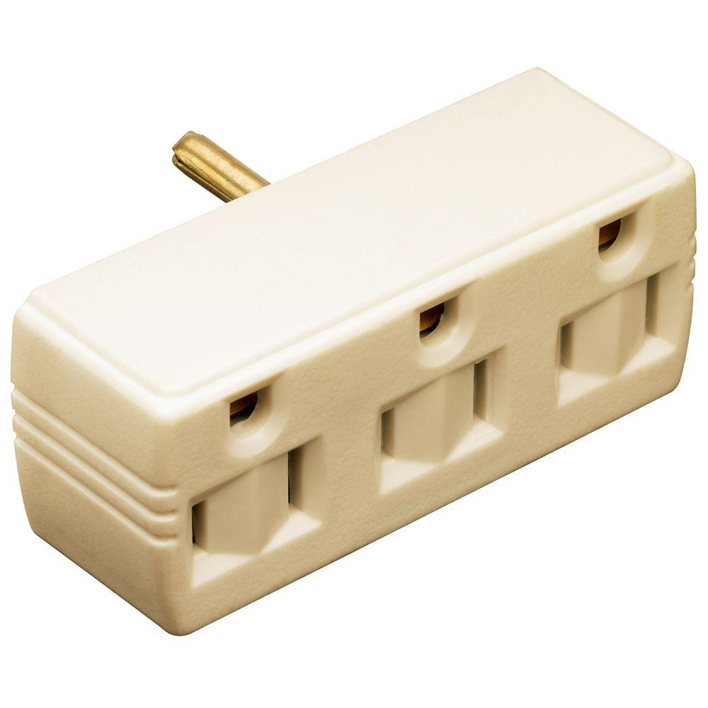 15 Amp 125-Volt Triple Tap Lighted Adapter - Ivory