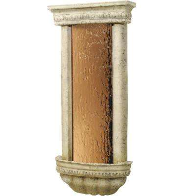 Bellezza Wall Fountain with Smooth Bronze Mirror and Ancient Stone Frame