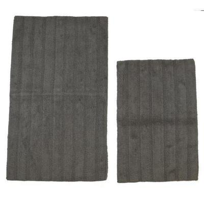 Stone 21 in. x 34 in. and 24 in. x 40 in. Linear Reversible Reversible Bath Rug Set (2-Piece)