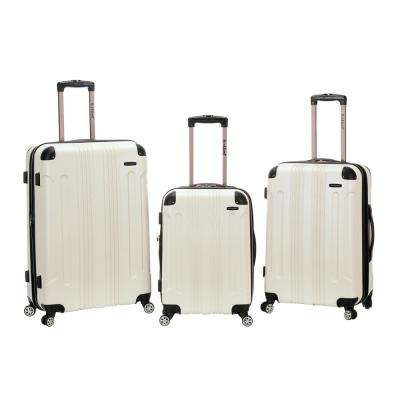 3-Piece White Abs Upright Set with Spinner Wheels Luggage