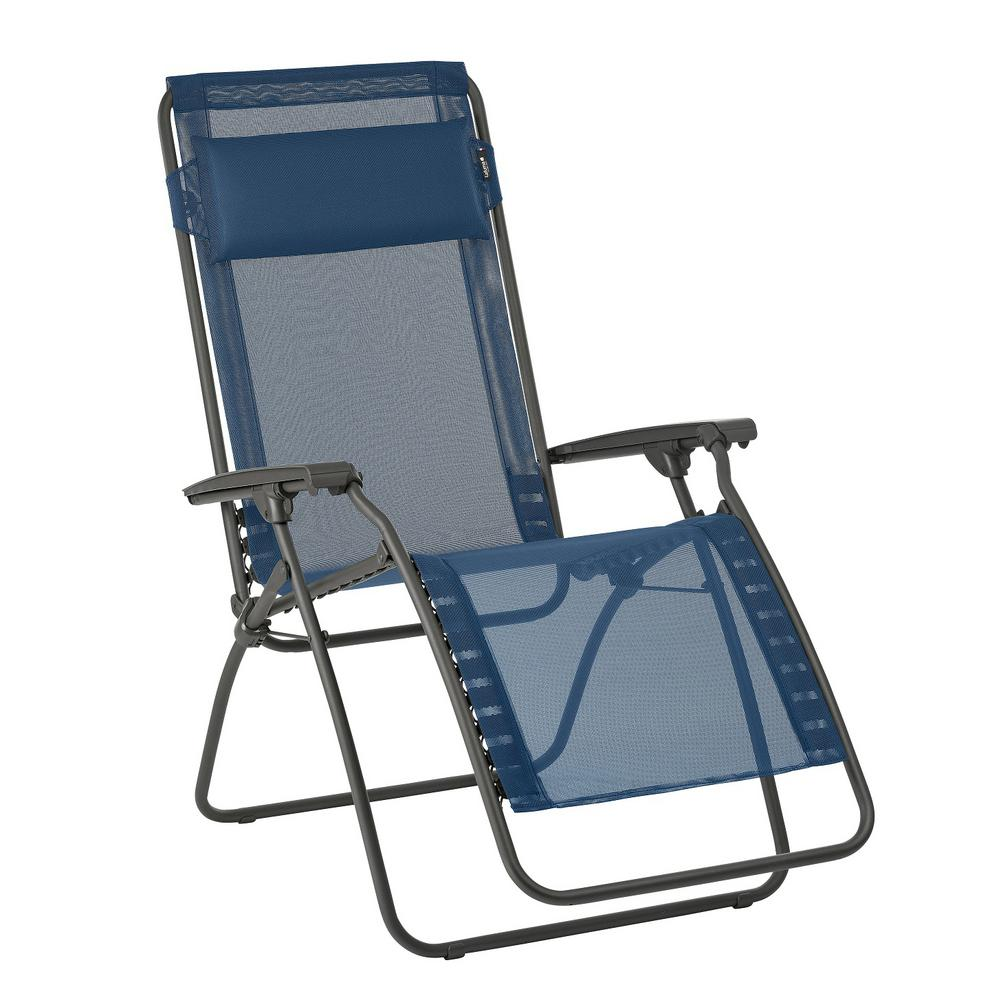 R-Clip in Ocean (Blue) Color with Steel Frame Folding Zero Gravity Reclining Lawn Chair