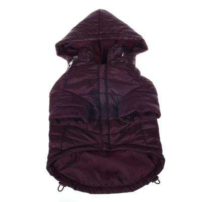Large Dark Cocoa Lightweight Adjustable Sporty Avalanche Dog Coat with Removable Pop Out Collared Hood