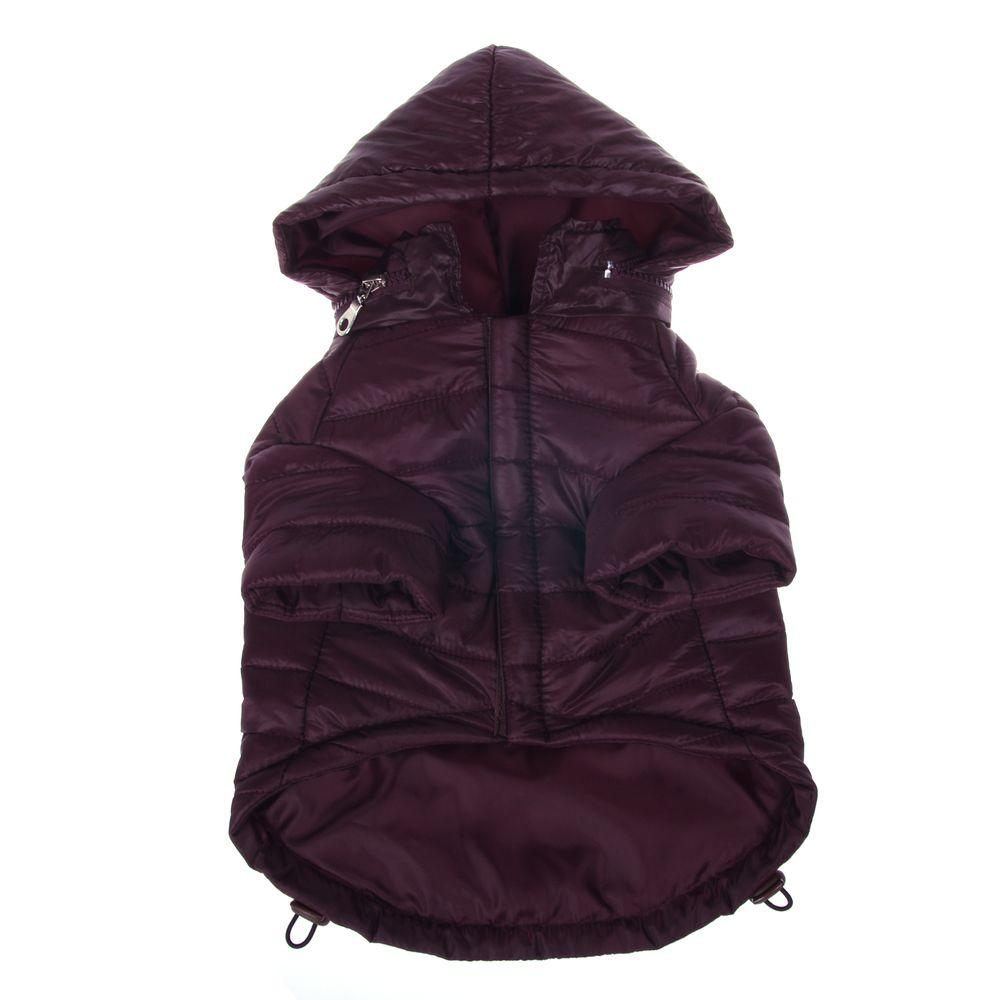 PET LIFE X-Small Dark Cocoa Lightweight Adjustable Sporty Avalanche Dog Coat with Removable Pop Out Collared Hood