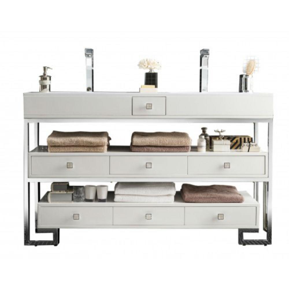 Bel Air 59 in. W Double Vanity in Glossy White with Solid Surface Vanity Top in White with White Basin