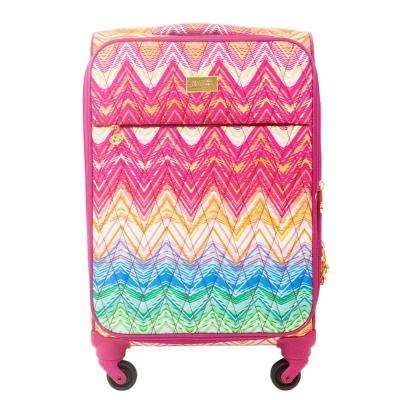 Chevron 29 in. Purple Soft Sided Rolling Luggage Suitcase