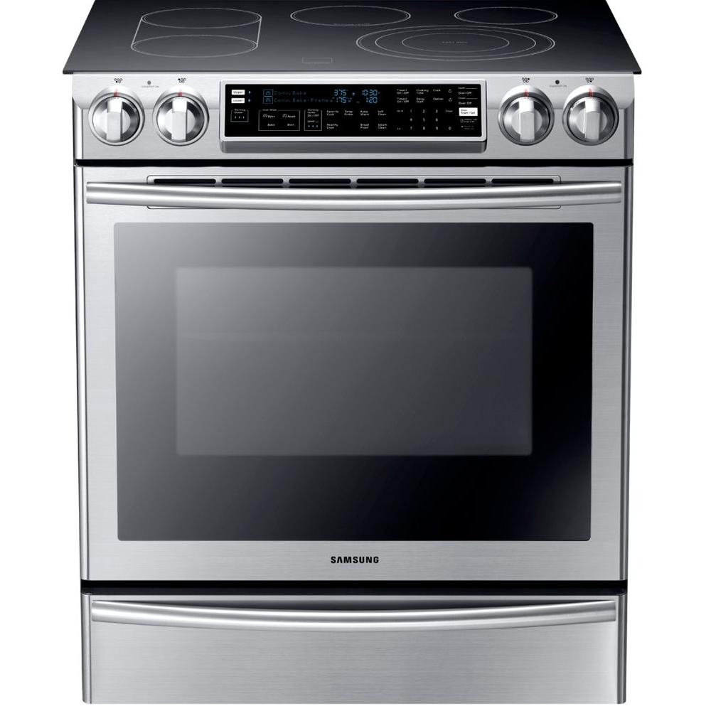 Samsung Flex Duo 5.8 cu. ft. Slide-In Double Oven Electric Range with Self-Cleaning Convection Oven in Stainless Steel