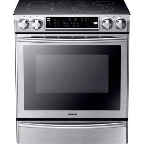 Click here to buy Samsung Flex Duo 5.8 cu. ft. Slide-In Double Oven Electric Range with Self-Cleaning Convection Oven in Stainless Steel by Samsung.