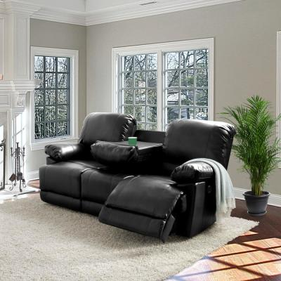 Plush Power Reclining Black Bonded Leather Sofa with Fold-Down Console and Cupholders with USB Port