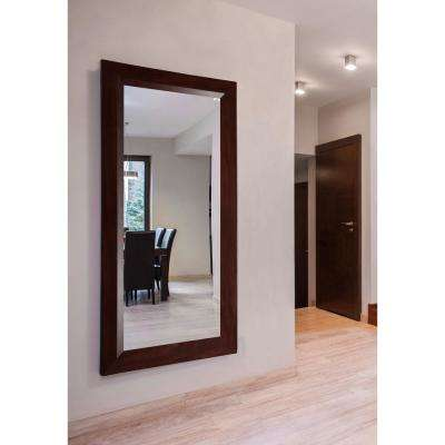 70.25 in. x 35.25 in. Dark Walnut Double Vanity Wall Mirror