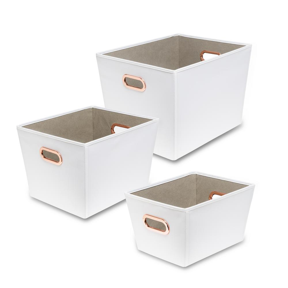 60 Qt. White with Copper Handles Canvas Tote (3-Piece)