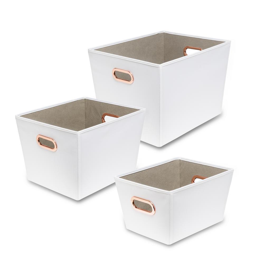 60 Qt. White with Copper Handles Canvas Tote (3-Piece)  sc 1 st  Home Depot & Fabric - Storage Bins u0026 Totes - Storage u0026 Organization - The Home Depot