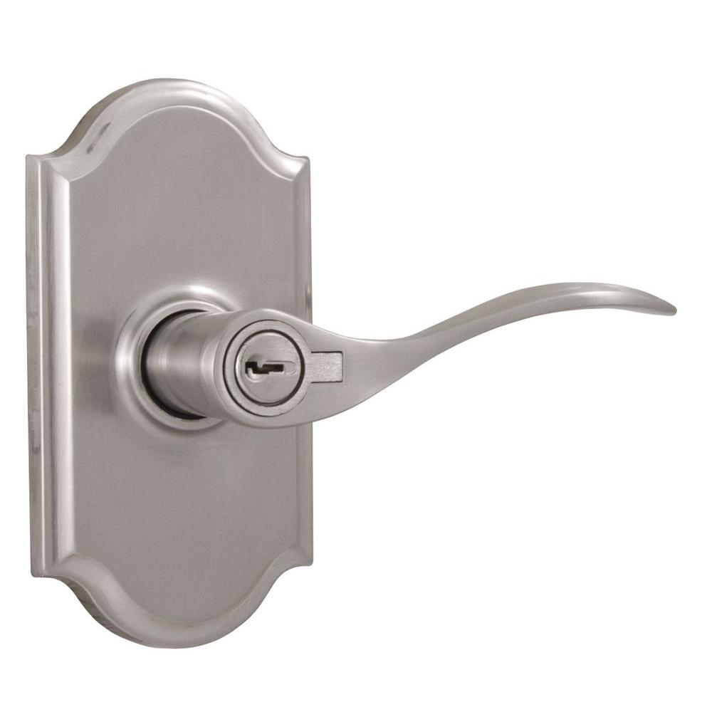 Elegance Satin Nickel Right-Hand Premiere Keyed Entry Bordeau Lever