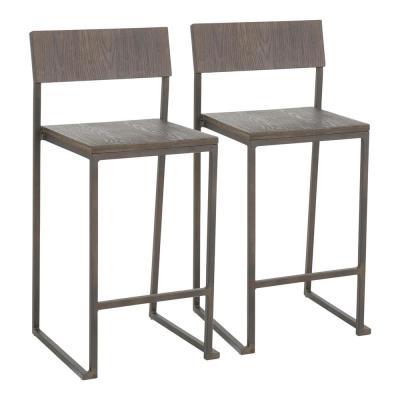 Industrial Fuji 26 in. Antique and Espresso Counter Stool (Set of 2)