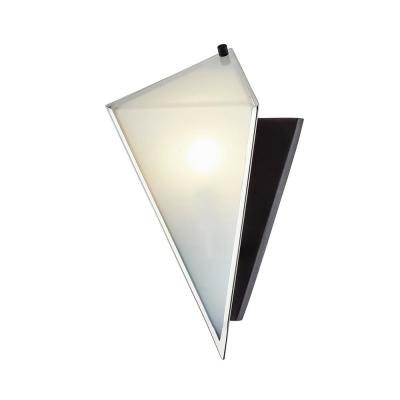 Kite Carbide Black and Polished Nickel 1-Light Wall Sconce with Clear Glass Shade